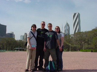 Karen, Neil, Paul and Emma in front of the Chicago skyline